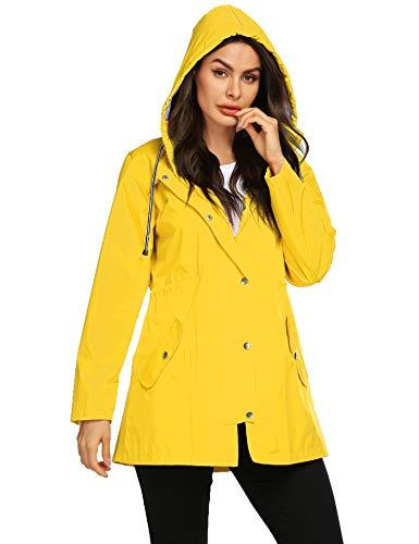 Avoogue Women's Trench Coats Raincoats Waterproof Lightweight Rain Jacket Active Outdoor Hooded Yellow S Belted Lined Trench Coat