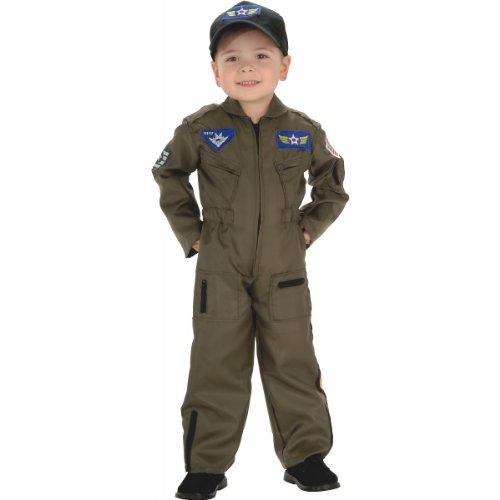 Rubie's Costume Co Kid Air Force Fighter Pilot Top Gun Halloween Costume M Boys Green Medium (5-7 years)
