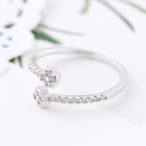 Erica 925 Sterling Silver Fashion Simple Zircon Ring taille ajustable cadeau pour les femmes