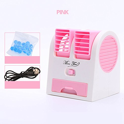 JiaQi Mini Air Conditioning,Portable Air Cooler,Cooling Small Fan Usb Office Humidifier Hostel-pink 12x11x15cm(5x4x6inch) by JiaQi
