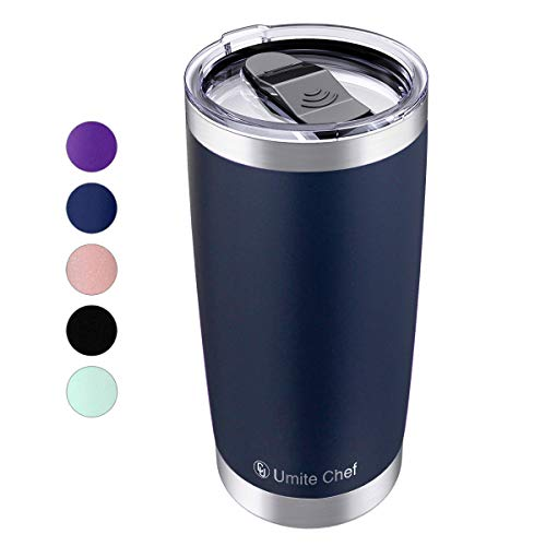 20oz Stainless Steel Vacuum Insulated Tumbler, Double Wall Insulated Travel Mug with Splash-Proof Lid by Umite Chef, Stainless Steel Coffee Cup with Straw for Hiking, Camping & Traveling (Navy Blue)