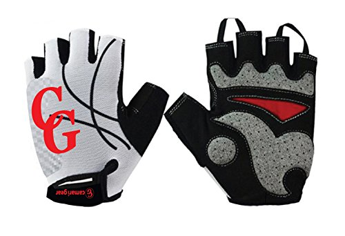 Camari Gear Sports Half Finger Cycling Gloves (PAIR) Road Racing, Bicycle, Mountain Bike, Gym ,Fitness Gloves For Men and Women - Brethable Anti -Slip Glove For Biking (White/Red, Large)