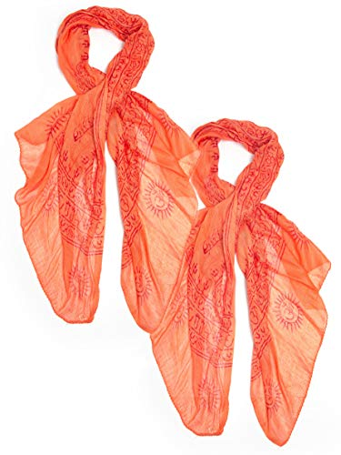 Bohomonde Indian Om Mantra Scarf, 100% Cotton (2 pack, Orange) by Bohomonde