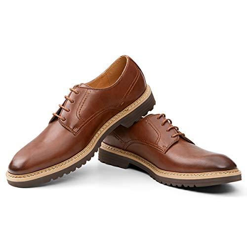 GM GOLAIMAN Dress Shoes for Men Formal Lace-Up Plain Toe Oxfords Dark Brown 8.5 D (M) US
