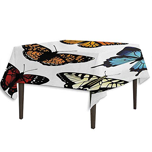 Maroon Monarch Tablecloths - kangkaishi Swallowtail Butterfly Waterproof Anti-Wrinkle no Pollution Five Different Butterflies Colorful Monarch Lady Insect Wings Spring Outdoor Picnic W36.2 x L36.2 Inch Multicolor