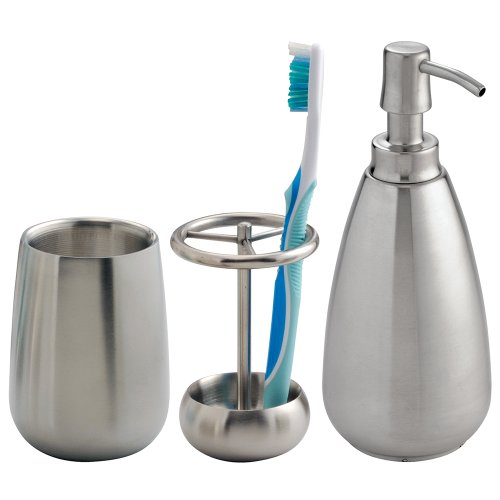 InterDesign Stainless Steel Bath Countertop Accessory Set, Soap Dispenser Pump, Toothbrush Holder, Tumbler - 3 Pieces, Brushed