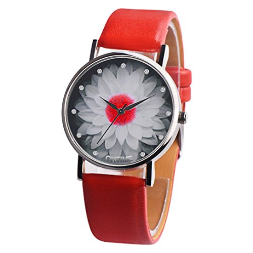 (Nmch Leather Strap Wristwatch, Womens Casual Analog Quartz Watch Floral Design Round Clock (Red))