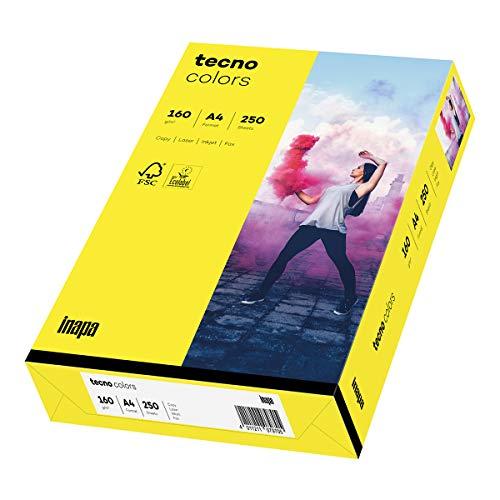 inapa farbiges Druckerpapier, buntes Papier tecno Colors: 160 g/m², A4, 250 Blatt, gelb