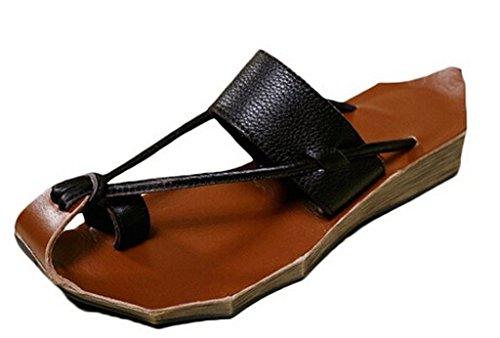 MatchLife Sandalen Zehentrenner Komfort Pantoletten Vintage Hausschuhe Leder Flach Slippers Freizeit Schuhe Schwarz