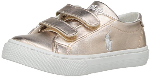 Polo Ralph Lauren Kids Unisex-Kids Slater EZ Sneaker, Rose Gold/Metallic, 3 Medium US Little - Ralph Us And Polo Lauren
