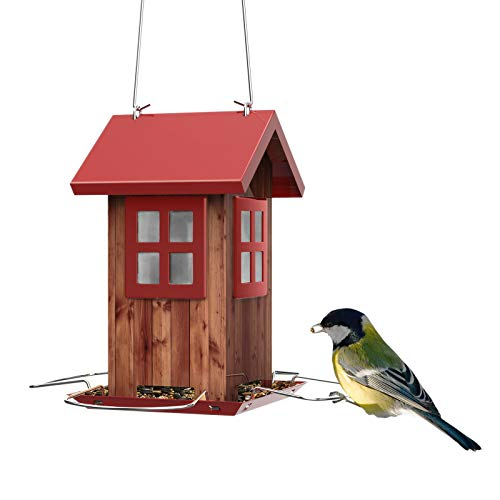 Kingsyard Bird Feeder House for Outside Hanging - All-Metal Construction, Built-in Drainage Holes to Keep Bird Seed Dry and Fresh, Extra Rustproof S Hook