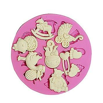 FPP 3d oso de peluche pies Baby Toy silicona Fondant Moldes Azúcar Artesanía Herramientas molde de chocolate para tartas Cupcake decoración: Amazon.es: ...