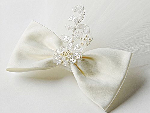 Elesa Miracle Flower Girl Bow Embroidered Wedding Veil, Ivory, In Gift Box by Elesa Miracle (Image #3)