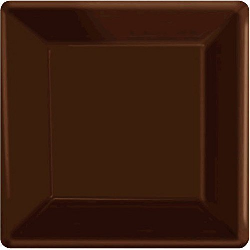 Brown Square Plate (Disposable Square Party Dessert Plates Tableware, Chocolate Brown, Paper , 7