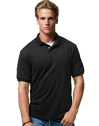 Hanes Men's Cotton-Blend EcoSmart® Jersey Polo Black Medium - Collar Polo T-shirt