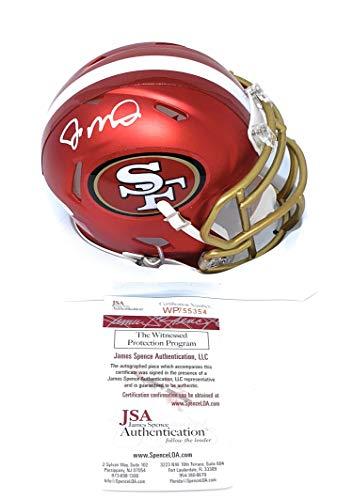 (Joe Montana San Francisco 49ers Signed Autograph BLAZE Speed Mini Helmet JSA Witnessed)
