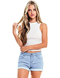 Women's Juniors Mid-Rise Denim Shorts