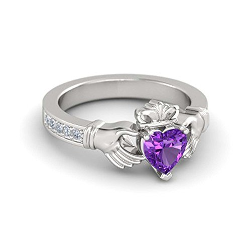 RSJ Global 14K White Gold Plated Alloy 6MM Heart Cut Created Amethyst & White CZ Round Claddagh Ring For Women's