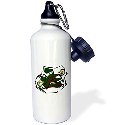 3dRose Susans Zoo Crew Food Vegetable Hot Pepper - Peppers green abstract square graphic - 21 oz Sports Water Bottle (wb_175650_1)