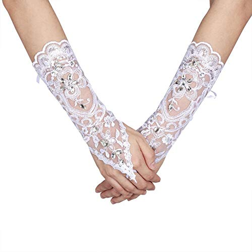 Lacey Ivory Rhinestone Fingerless Gloves for Brides Accessory Wedding Prom Party (Ivory)
