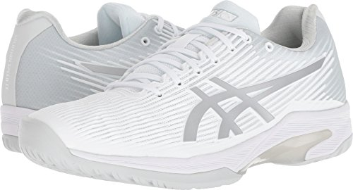 ASICS Womens Solution Speed FF Tennis Shoe, White/Silver, Size 6