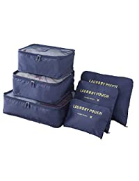 FashionUp 6 Set Packing Cubes,Travel Luggage Packing Organizers Set with Laundry Bag for Travel (Navy Blue)