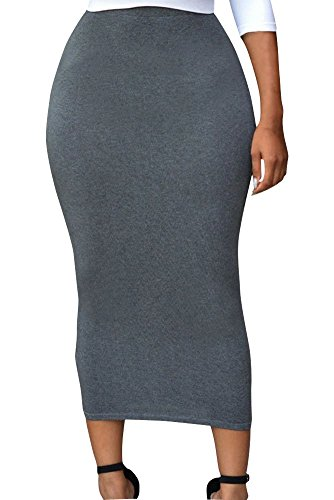 Sexy Womens Solid High-waisted Bodycon Cotton Maxi Skirt (Large, Grey) (Sexy Long Skirts)