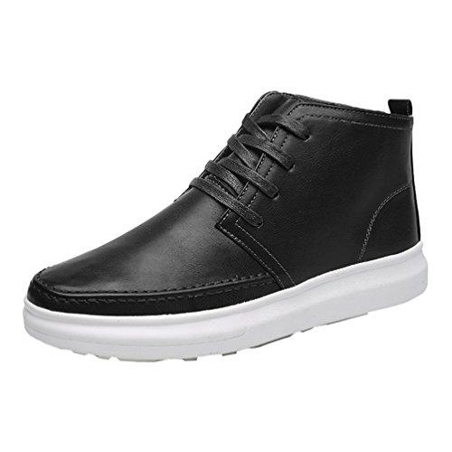 CHENGYANG Herren Warm Gefüttert Winter Stiefel Schnür Boots Schneestiefel Outdoor Freizeit Schuhe Schwarz#Dicker