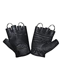 Prime Sports Men's Leather Fingerless Fashion Driving Gloves (Black, Large)