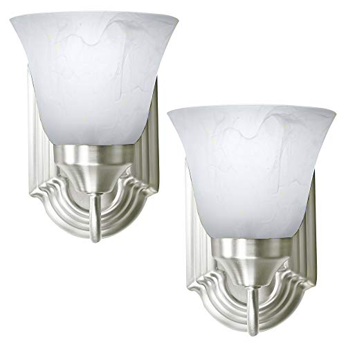 2 Pack of Bennington Luna Wall Sconce Light Fixture Single Light Vanity Lights, Brushed Nickel (Bathroom Sconce Wall)