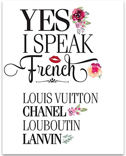 Yes I Speak French - 11x14 Unframed Typography Art Print - Great Gift for Fashion - For Illustrator Designers Fashion