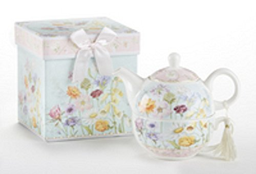 """Delton Product Porcelain Tea for One in Gift Box Wildflower 5.8"""" Inches"""