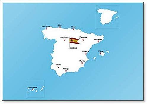 Mapa de España con grandes ciudades – Imán clásico para nevera ...