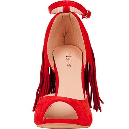 Calaier Mujer Cawonder Tacón De Aguja 10CM Sintético Hebilla Sandalias de vestir Zapatos Rojo