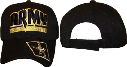 cb0c544947e Amazon.com  Army Star Black and Gold 3D Letters Hat Ball Cap ...