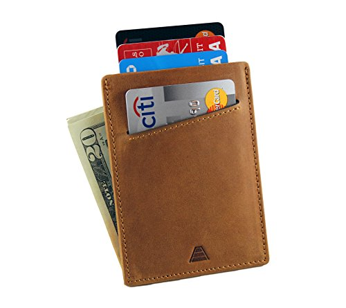 Andar Minimalist Front Pocket Leather Wallet Made of Full Grain Leather - The Duke (Saddle ()