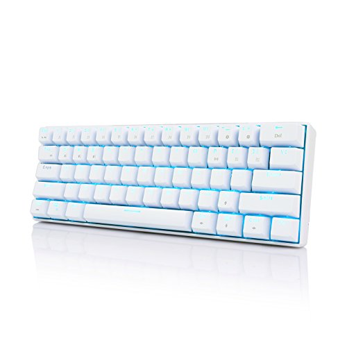Royal Kludge RK61 61 Keys Wired/ Wireless Bluetooth 3.0 Multi-Device Yellow LED Backlit Mechanical Gaming/Office Keyboard for iOS, Android, Windows with Rechargeable Battery, Blue Switch –White