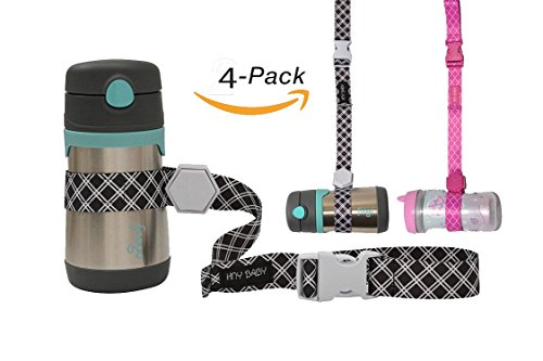 HnyBaby Sippy Cup Strap for Baby Bottle and Toy Strap 4 Pack Sippy Cup Holder with Rubber Grip for Stroller & Highchair (Black/Pink)