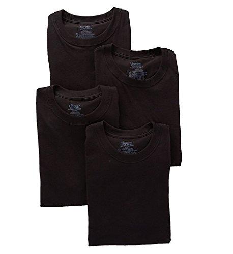 Hanes Platinum Stretch Crew Neck T-Shirts - 4 Pack (YTT1B4) S/Black