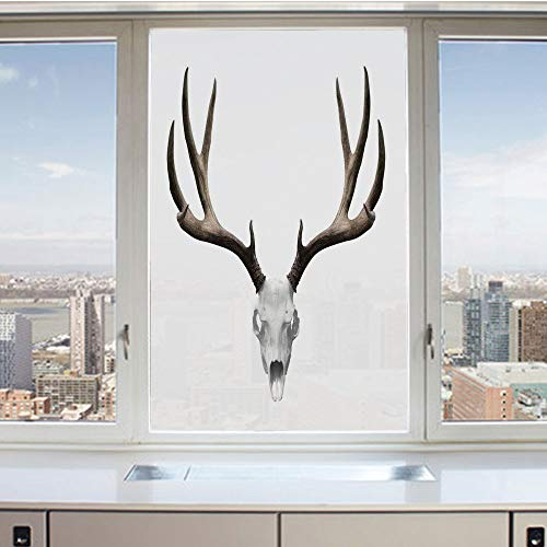 3D Decorative Privacy Window Films,A Deer Skull Skeleton Head Bone Halloween Weathered Hunter Collection Decorative,No-Glue Self Static Cling Glass film for Home Bedroom Bathroom Kitchen Office 17.5x3 ()