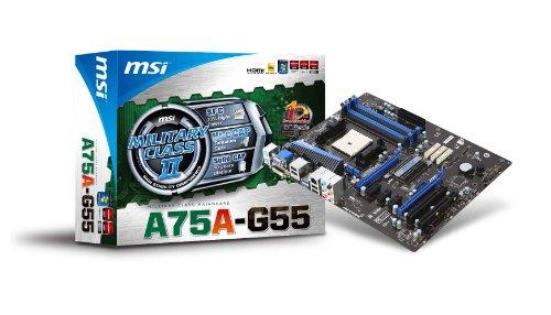 MSI Socket FM1 AMD A75 DDR3 Hybrid CrossFireX SATA3&USB3.0 A&GbE ATX Motherboard - A75A-G55