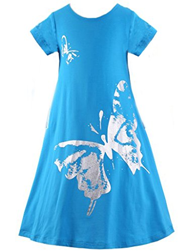 Happy Rose Girls Butterfly Print Dress Short Sleeve Blue 8 by Happy Rose