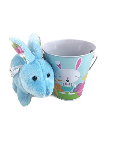 Babys First Easter Basket Bundle (Boy) 2 Items: 1 Soft And Cuddly Blue Bunny With Easter Ribbon 1 Keepsake Tin Bucket
