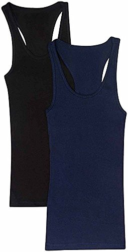 Trendyfriday Women's Ribbed Racerback Athletic Active Tank Tops 2 or 4 Packs (Large, 2 Pack - Black, Navy)