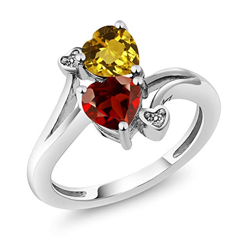 Gem Stone King 1.63 Ct Heart Shape Yellow Citrine Red Garnet 925 Sterling Silver Ring (Size 8)