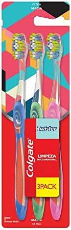 Escova Dental, Colgate, Twister, Multicor, 3 Unidades