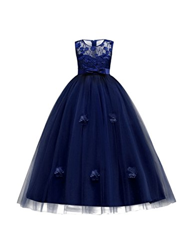 aibeiboutique Flower Girl Dresses Pageant Princess Bridesmaid Dress for Wedding First Communion (13-14 Years, Navy) ()