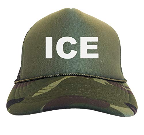ICE Supporter - Immigration Camoflauge Trucker Hat (Woodland Camo)]()