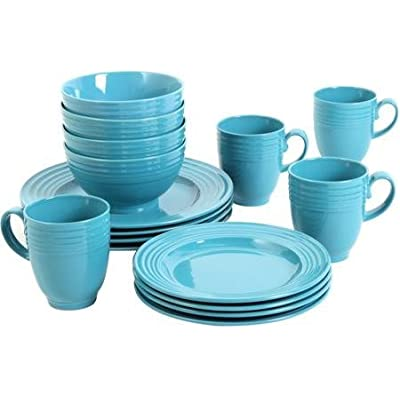 Click for Elegant, Microwave Safe, Dishwasher Safe, 16-Piece Dinnerware Set, Turquoise