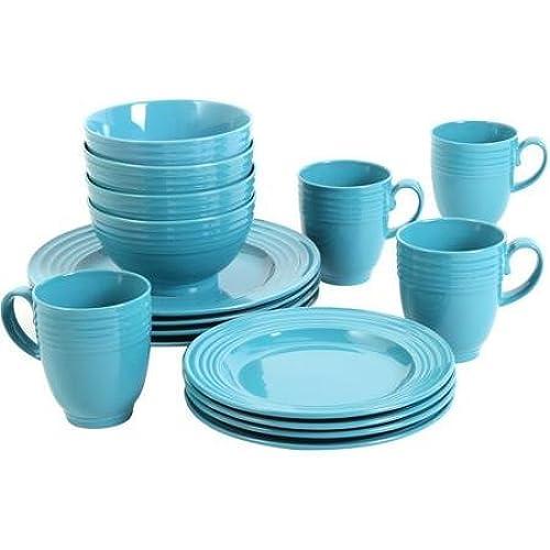 Elegant Microwave Safe Dishwasher Safe 16-Piece Dinnerware Set Turquoise  sc 1 st  Amazon.com & Microwave Safe Dinnerware: Amazon.com
